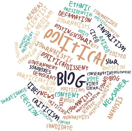 Abstract word cloud for Political blog with related tags and terms