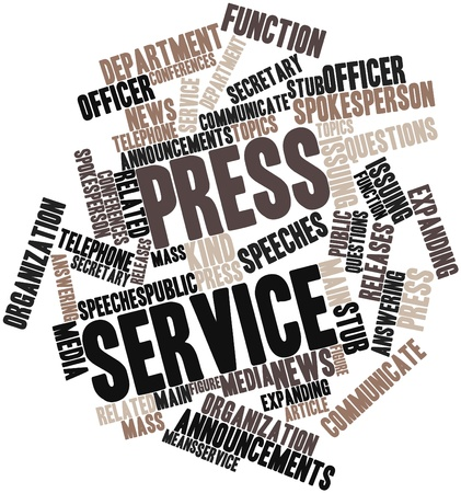 Abstract word cloud for Press service with related tags and terms