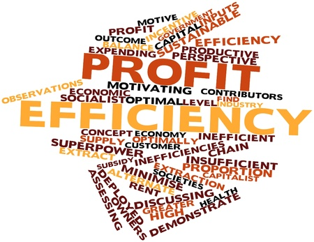 Abstract word cloud for Profit efficiency with related tags and terms Stock Photo