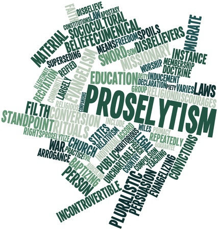migrate: Abstract word cloud for Proselytism with related tags and terms Stock Photo