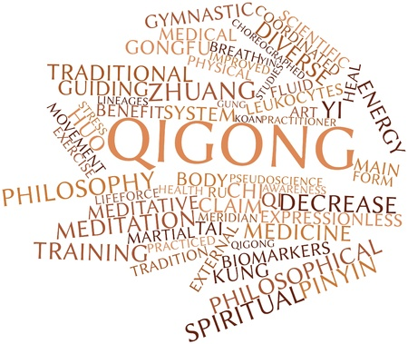 Abstract word cloud for Qigong with related tags and terms Stock Photo