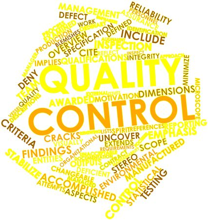 implies: Abstract word cloud for Quality control with related tags and terms Stock Photo