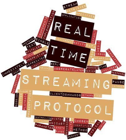 Abstract word cloud for Real Time Streaming Protocol with related tags and terms Banco de Imagens