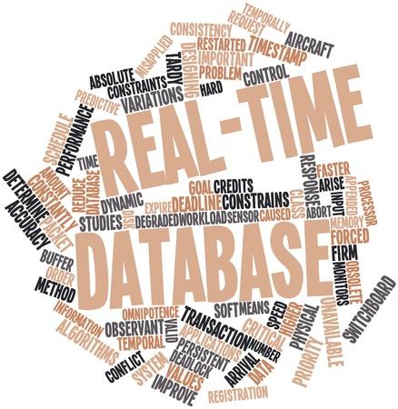 Nube palabra abstracta para la base de datos en tiempo real con las etiquetas y términos relacionados Foto de archivo
