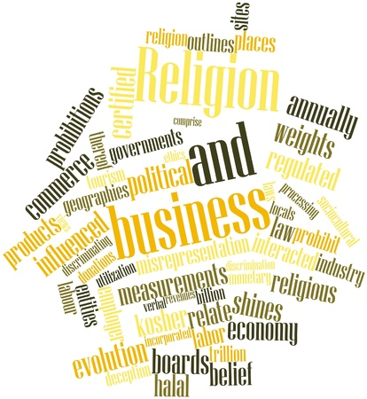 regulated: Abstract word cloud for Religion and business with related tags and terms Stock Photo