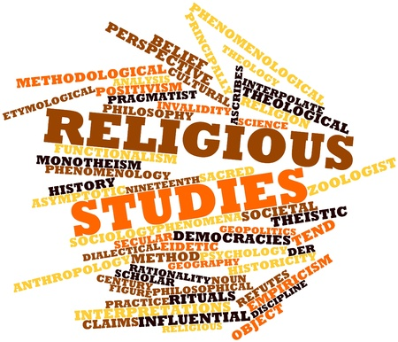 Abstract word cloud for Religious studies with related tags and terms Stock Photo - 16631683