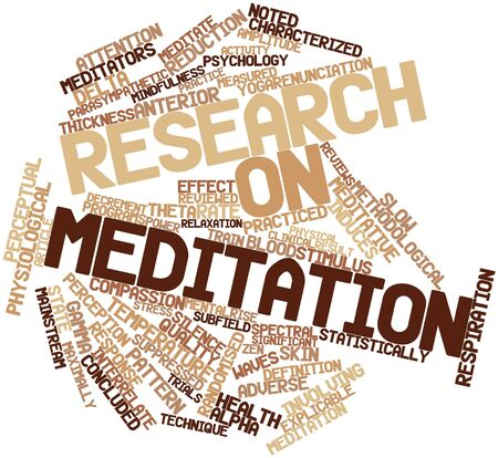 Abstract word cloud for Research on meditation with related tags and terms photo