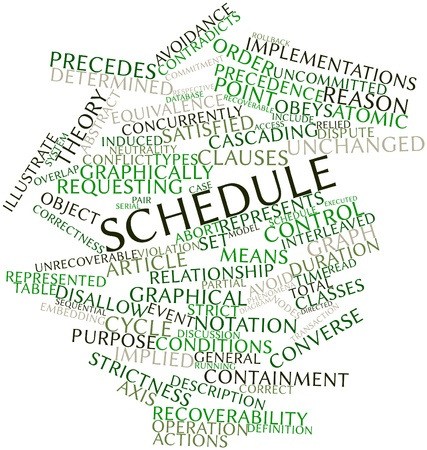 precedence: Abstract word cloud for Schedule with related tags and terms