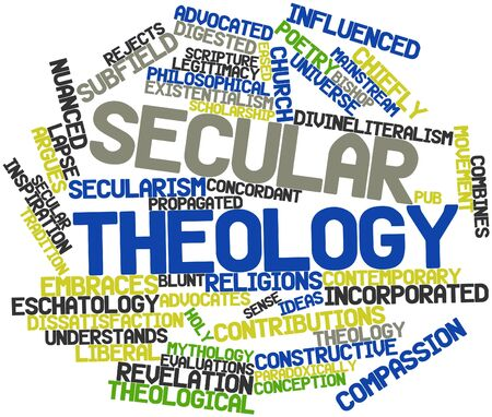 theology: Abstract word cloud for Secular theology with related tags and terms Stock Photo