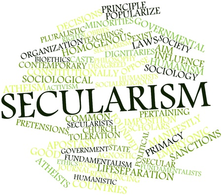 bioethics: Abstract word cloud for Secularism with related tags and terms Stock Photo