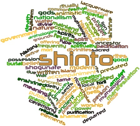 lacquerware: Abstract word cloud for Shinto with related tags and terms