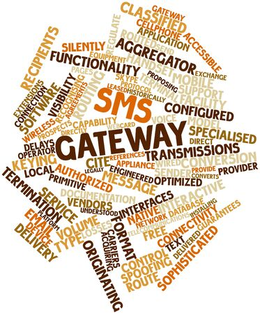 routed: Abstract word cloud for SMS gateway with related tags and terms