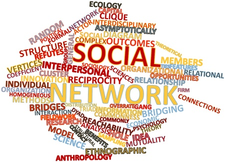 vertices: Abstract word cloud for Social network with related tags and terms