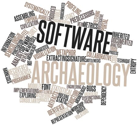 Abstract word cloud for Software archaeology with related tags and terms photo