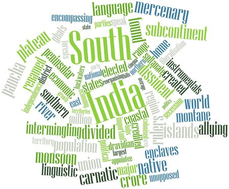 appointee: Abstract word cloud for South India with related tags and terms