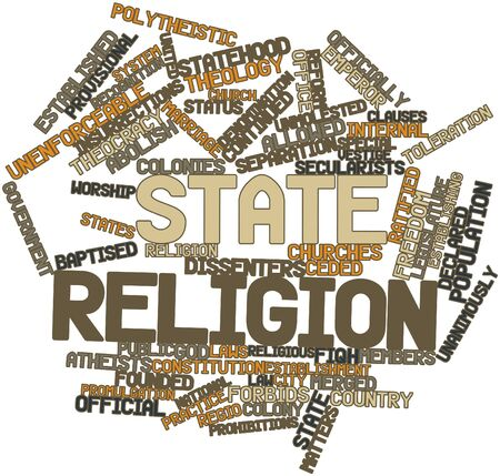 forbids: Abstract word cloud for State religion with related tags and terms Stock Photo