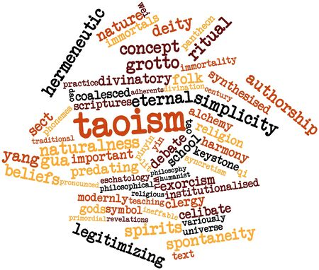 compiled: Abstract word cloud for Taoism with related tags and terms Stock Photo