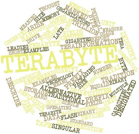 Abstract word cloud for Terabyte with related tags and terms Stock Photo - 16632973