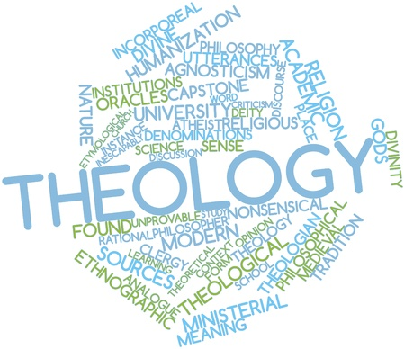 Abstract word cloud for Theology with related tags and terms Stock Photo - 16631243