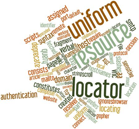 locator: Abstract word cloud for Uniform resource locator with related tags and terms Stock Photo