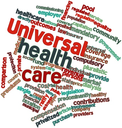regulation: Abstract word cloud for Universal health care with related tags and terms