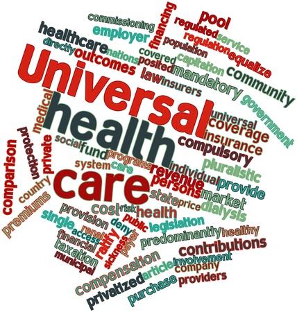 salud publica: Nube palabra abstracta para el cuidado de la salud universal con etiquetas y términos relacionados