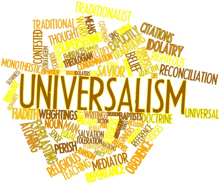 condemnation: Abstract word cloud for Universalism with related tags and terms Stock Photo
