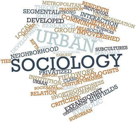 sociologia: Nube palabra abstracta para la sociología urbana con etiquetas y términos relacionados Foto de archivo