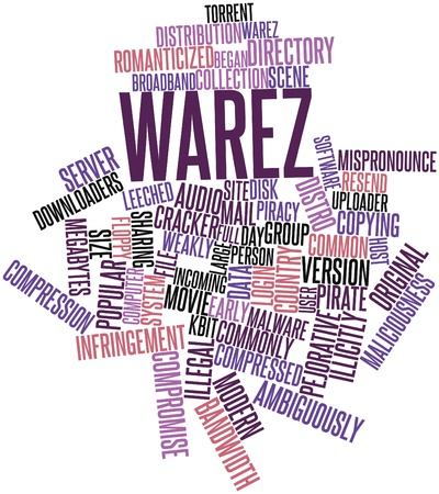 size distribution: Abstract word cloud for Warez with related tags and terms Stock Photo
