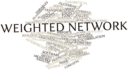weighted: Abstract word cloud for Weighted network with related tags and terms Stock Photo