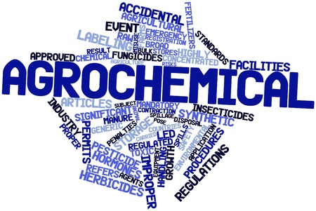productos quimicos: Nube palabra abstracta para agroquímicos con etiquetas y términos relacionados Foto de archivo