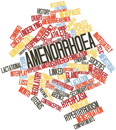 Abstract word cloud for Amenorrhoea with related tags and terms photo