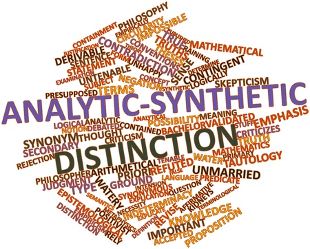 synonymous: Abstract word cloud for Analytic-synthetic distinction with related tags and terms Stock Photo