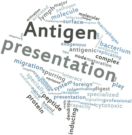 macrophages: Abstract word cloud for Antigen presentation with related tags and terms Stock Photo
