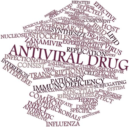 antiviral: Abstract word cloud for Antiviral drug with related tags and terms Stock Photo