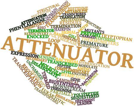 関連するタグと用語とアッテネータの抽象的な単語雲