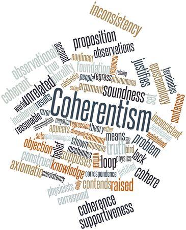 observational: Nube palabra abstracta para coherentismo con etiquetas y t�rminos relacionados Foto de archivo