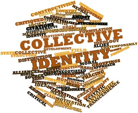 groupings: Word cloud astratto per l'identit� collettiva con tag correlati e termini
