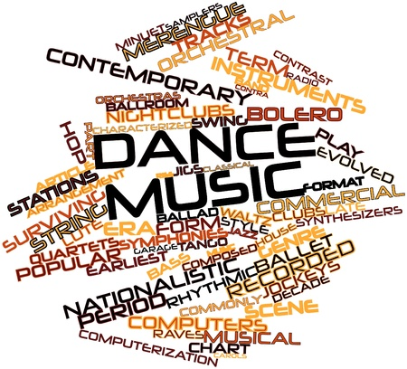 minuet: Abstract word cloud for Dance music with related tags and terms