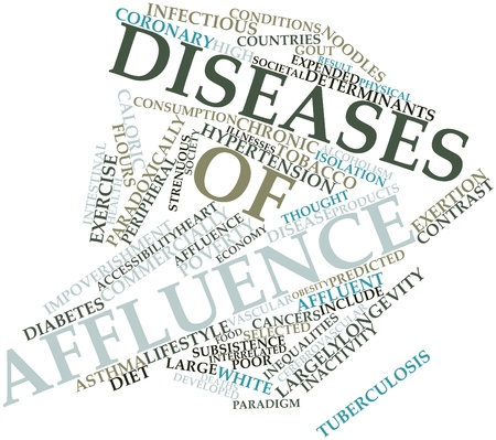 Abstract word cloud for Diseases of affluence with related tags and terms Stock Photo - 16631367