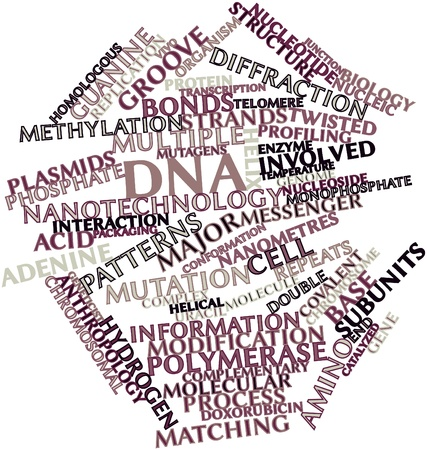 Abstract word cloud for DNA with related tags and terms