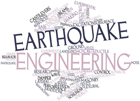 superstructure: Abstract word cloud for Earthquake engineering with related tags and terms Stock Photo