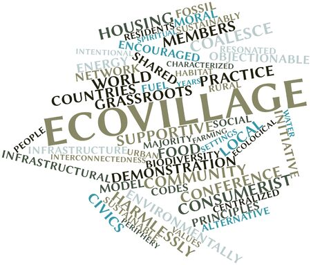 indefinite: Abstract word cloud for Ecovillage with related tags and terms