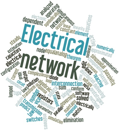 electronic components: Abstract word cloud for Electrical network with related tags and terms