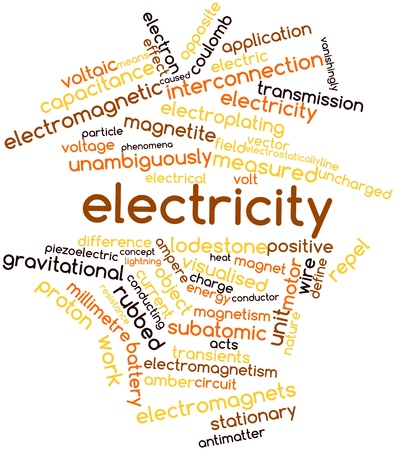 gravitational field: Abstract word cloud for Electricity with related tags and terms Stock Photo
