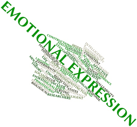 discrete: Abstract word cloud for Emotional expression with related tags and terms Stock Photo
