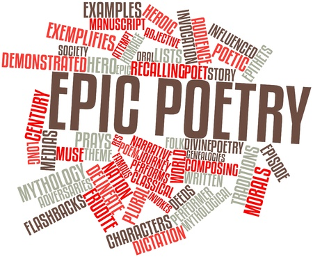recreate: Abstract word cloud for Epic poetry with related tags and terms