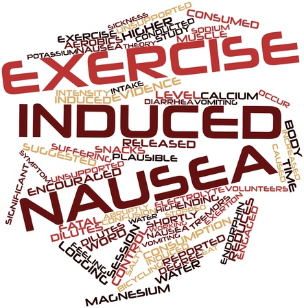 reduces: Abstract word cloud for Exercise induced nausea with related tags and terms