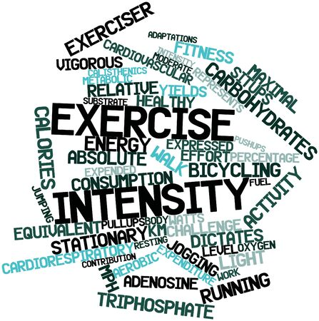 calisthenics: Abstract word cloud for Exercise intensity with related tags and terms