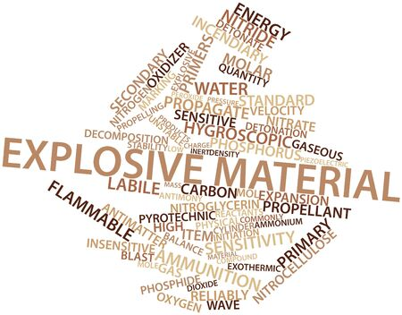 isotopes: Abstract word cloud for Explosive material with related tags and terms Stock Photo